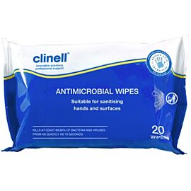 Clinell Antibacterial Hand Wipes | Pack of 20