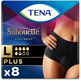 TENA Silhouette Plus High Waist Noir Large | Pack of 8
