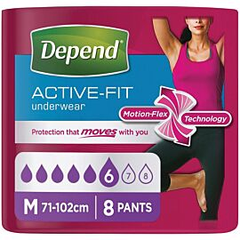 Depend Active-fit Underwear for Women Medium | Pack of 8