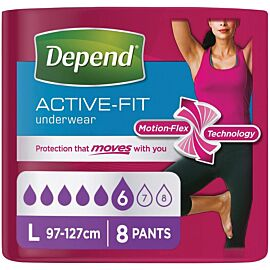 Depend Active-Fit Underwear for Women Large | Pack of 8